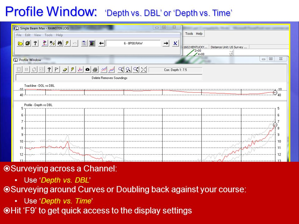 Profile Window: 'Depth vs. DBL' or 'Depth vs. Time'