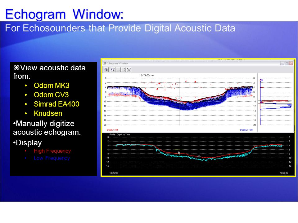 Echogram Window: For Echosounders that Provide Digital Acoustic Data