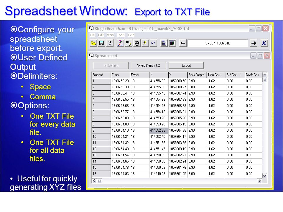 Spreadsheet Window: Export to TXT File