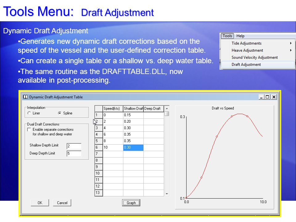 Tools Menu: Draft Adjustment