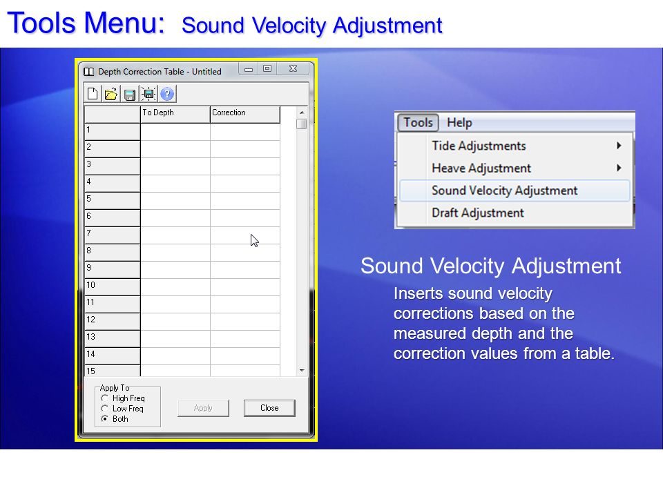 Tools Menu: Sound Velocity Adjustment