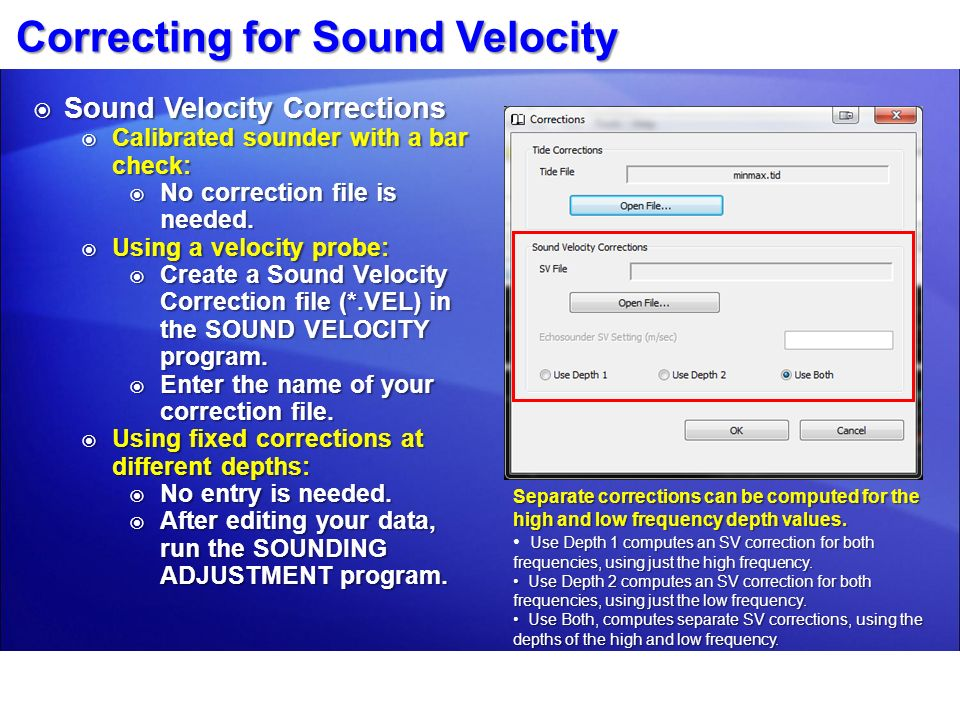 Correcting for Sound Velocity