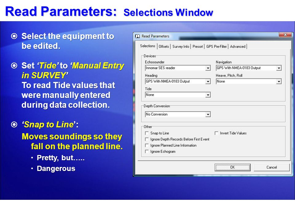 Read Parameters: Selections Window