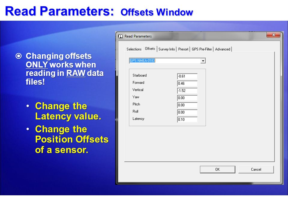 Read Parameters: Offsets Window
