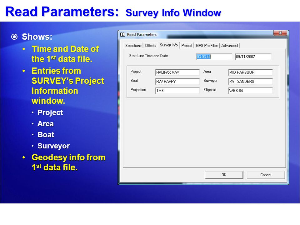Read Parameters: Survey Info Window