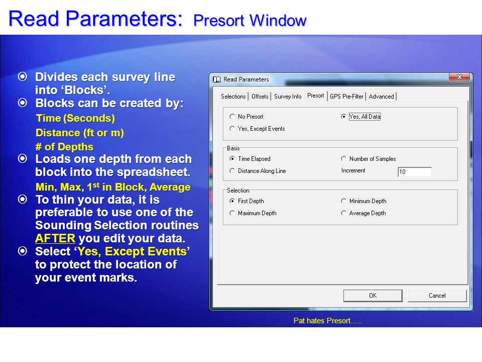 Read Parameters: Presort Window
