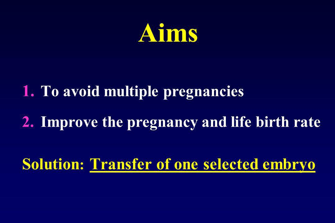 Aims To avoid multiple pregnancies