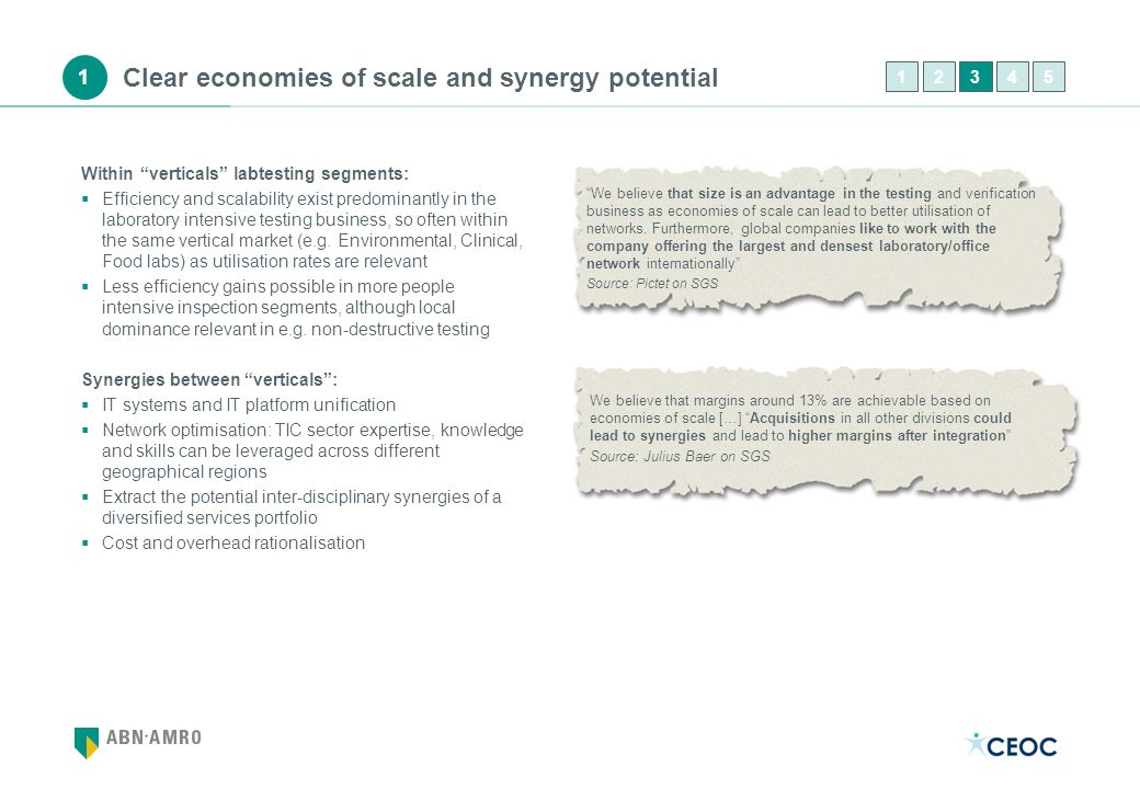 Clear economies of scale and synergy potential