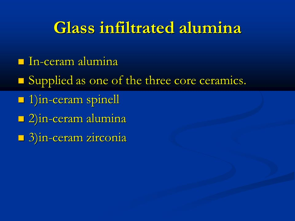Glass infiltrated alumina