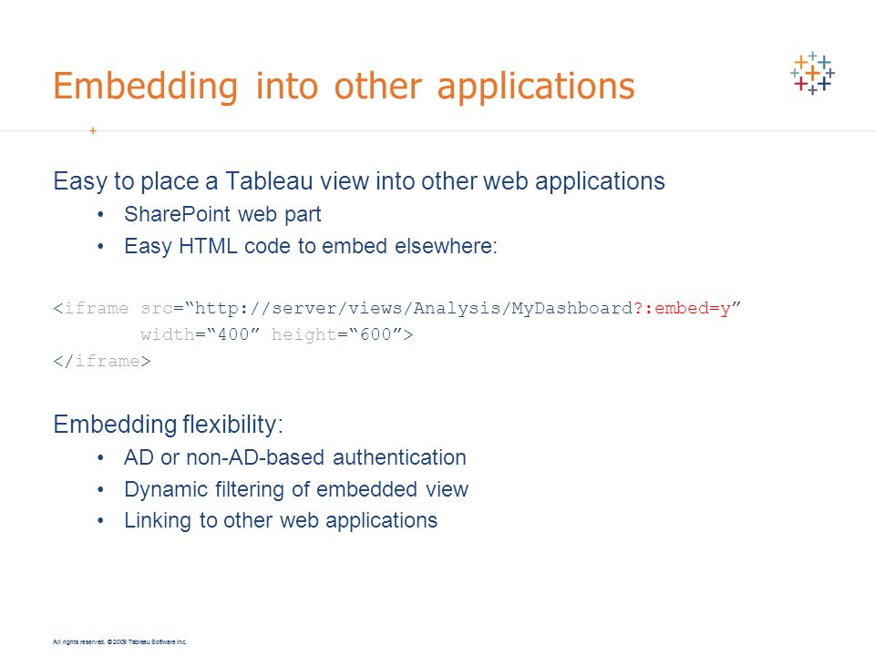 Embedding into other applications
