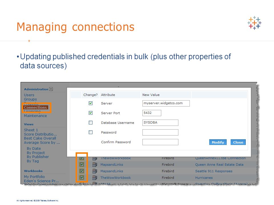 Managing connections Updating published credentials in bulk (plus other properties of data sources)
