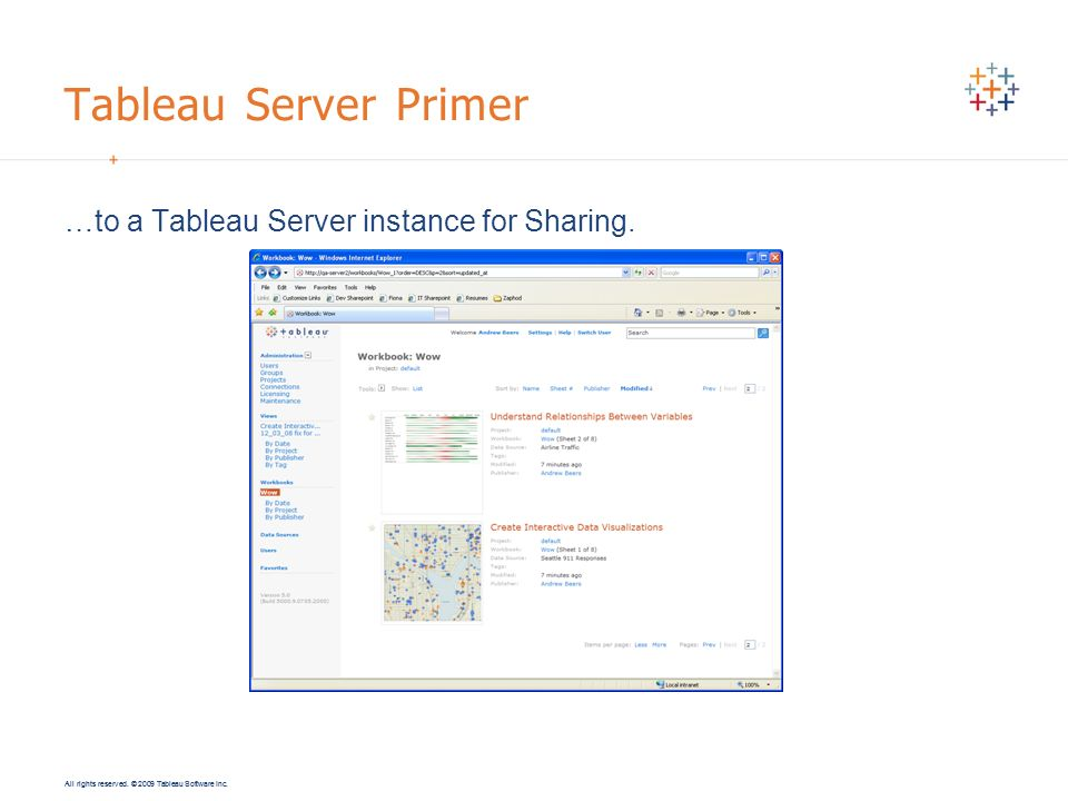 Tableau Server Primer …to a Tableau Server instance for Sharing.