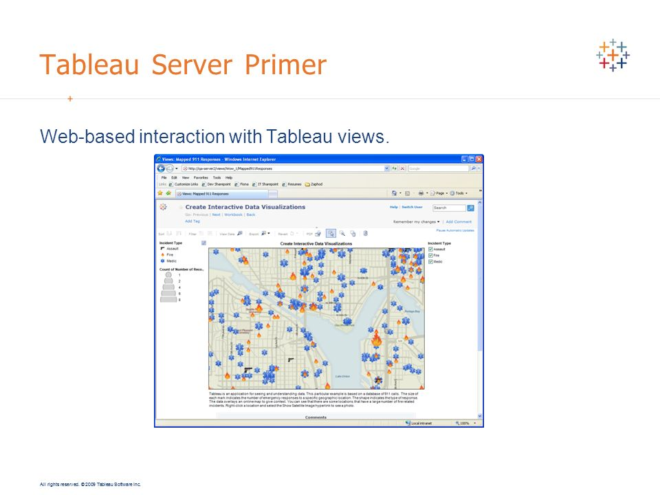 Tableau Server Primer Web-based interaction with Tableau views.