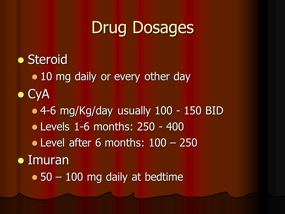 Drug Dosages Steroid CyA Imuran 10 mg daily or every other day