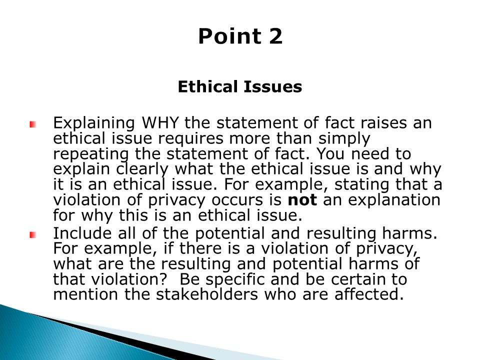 Point 2 Ethical Issues.