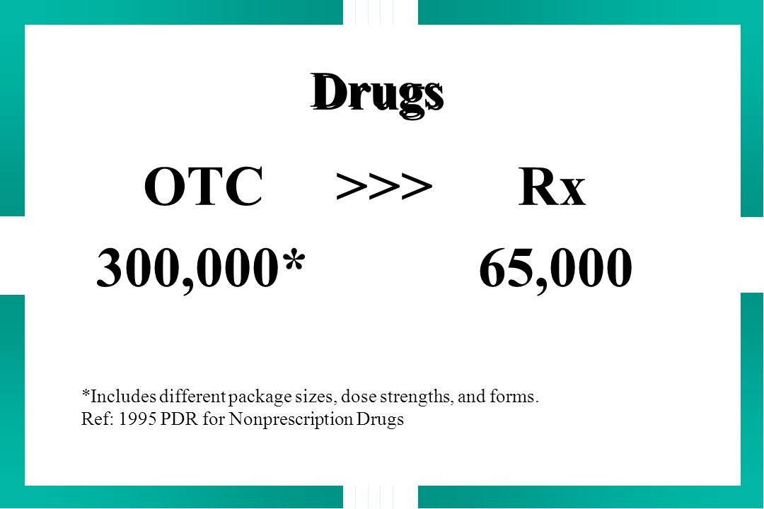 OTC >>> Rx 300,000* 65,000 Drugs