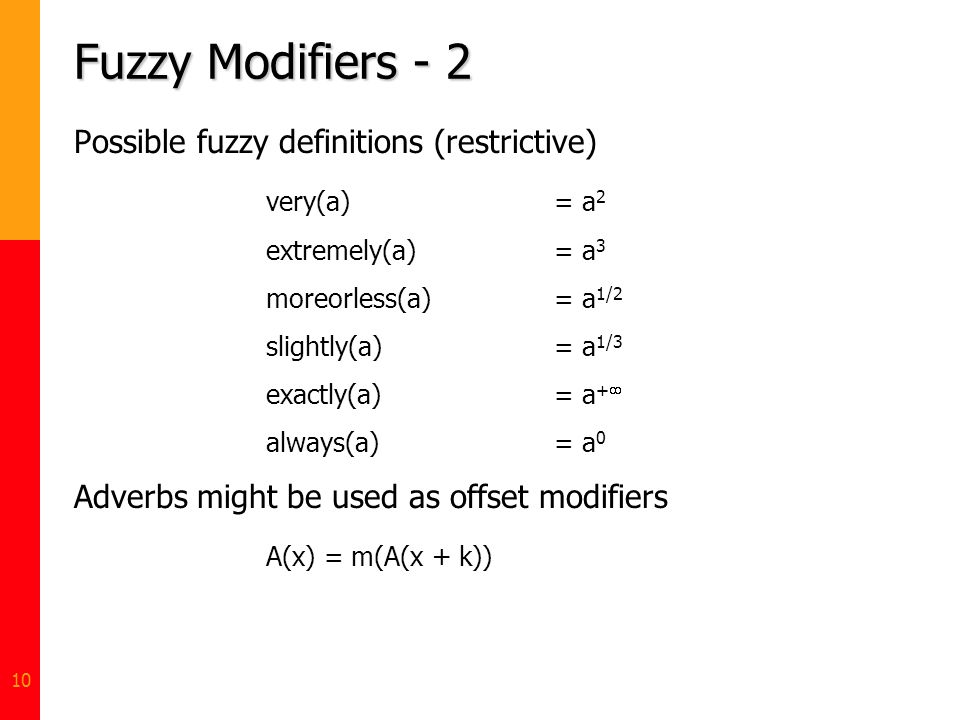 Fuzzy Modifiers - 2 Possible fuzzy definitions (restrictive)
