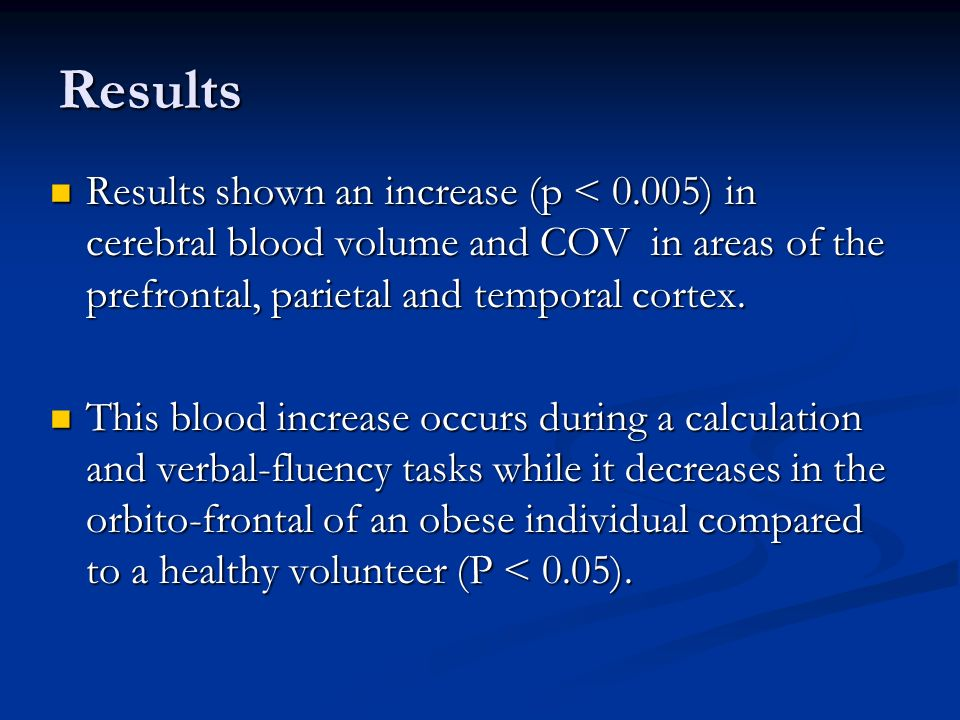 Results Results shown an increase (p < 0.005) in cerebral blood volume and COV in areas of the prefrontal, parietal and temporal cortex.