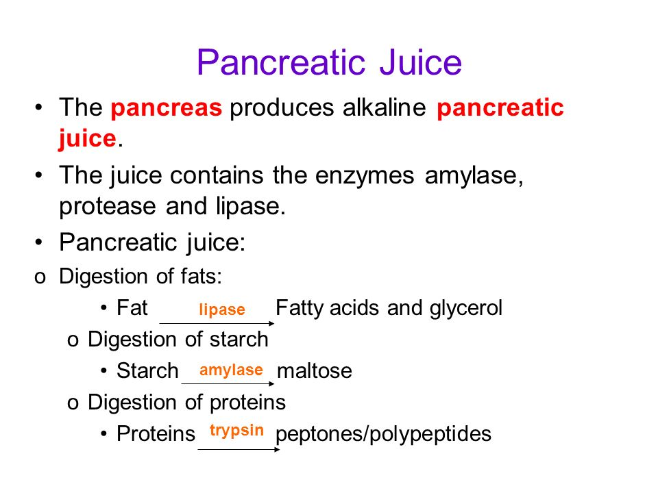 Pancreatic Juice The pancreas produces alkaline pancreatic juice.