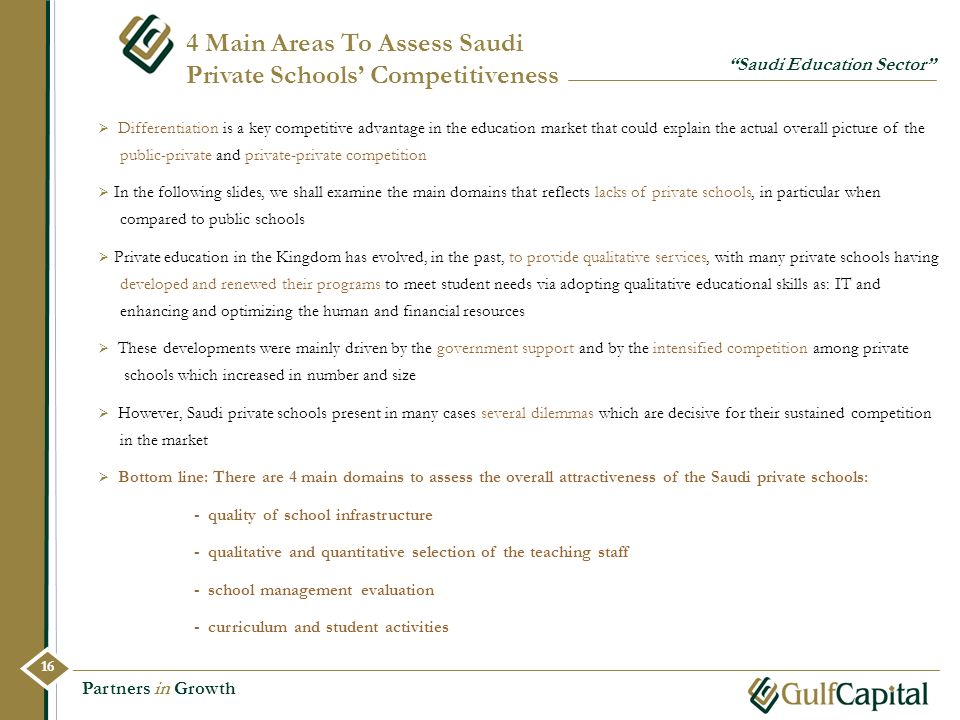 4 Main Areas To Assess Saudi Private Schools' Competitiveness