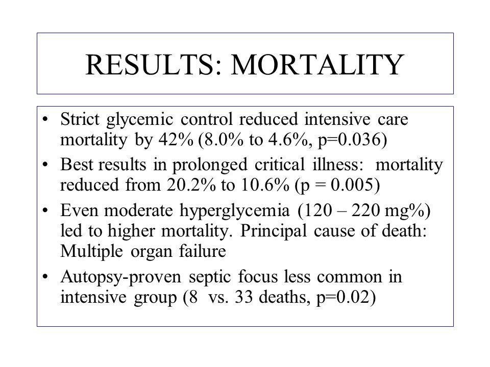 RESULTS: MORTALITY Strict glycemic control reduced intensive care mortality by 42% (8.0% to 4.6%, p=0.036)