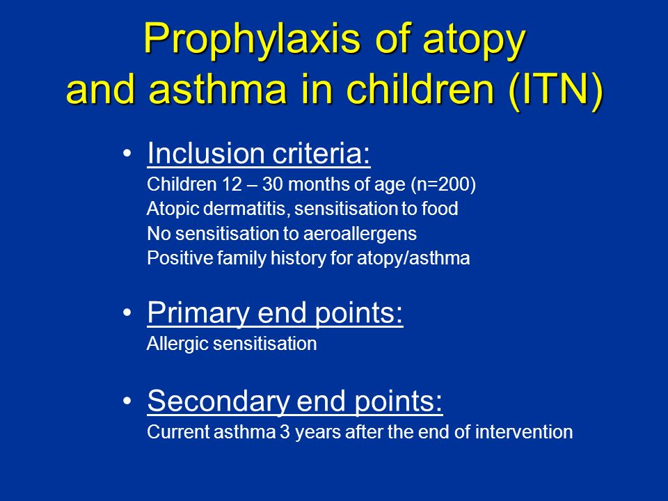 Prophylaxis of atopy and asthma in children (ITN)