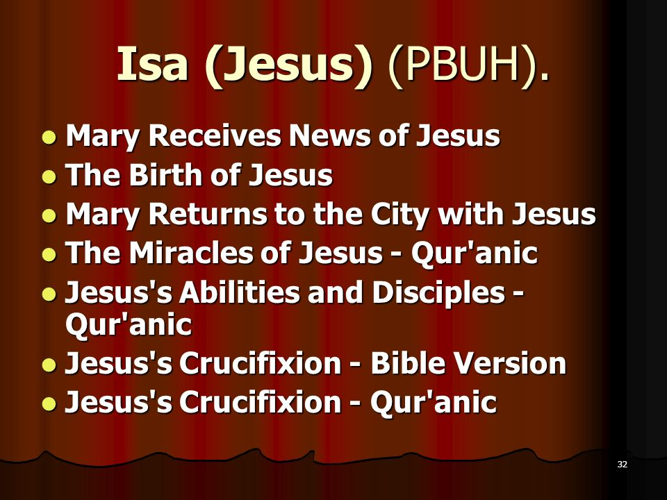 Isa (Jesus) (PBUH). Mary Receives News of Jesus The Birth of Jesus