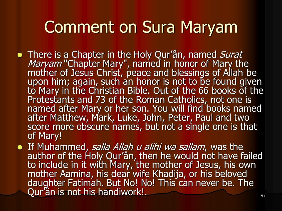 Comment on Sura Maryam