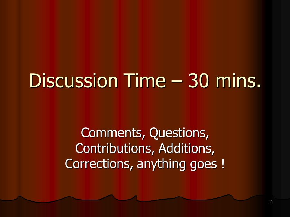 Discussion Time – 30 mins.
