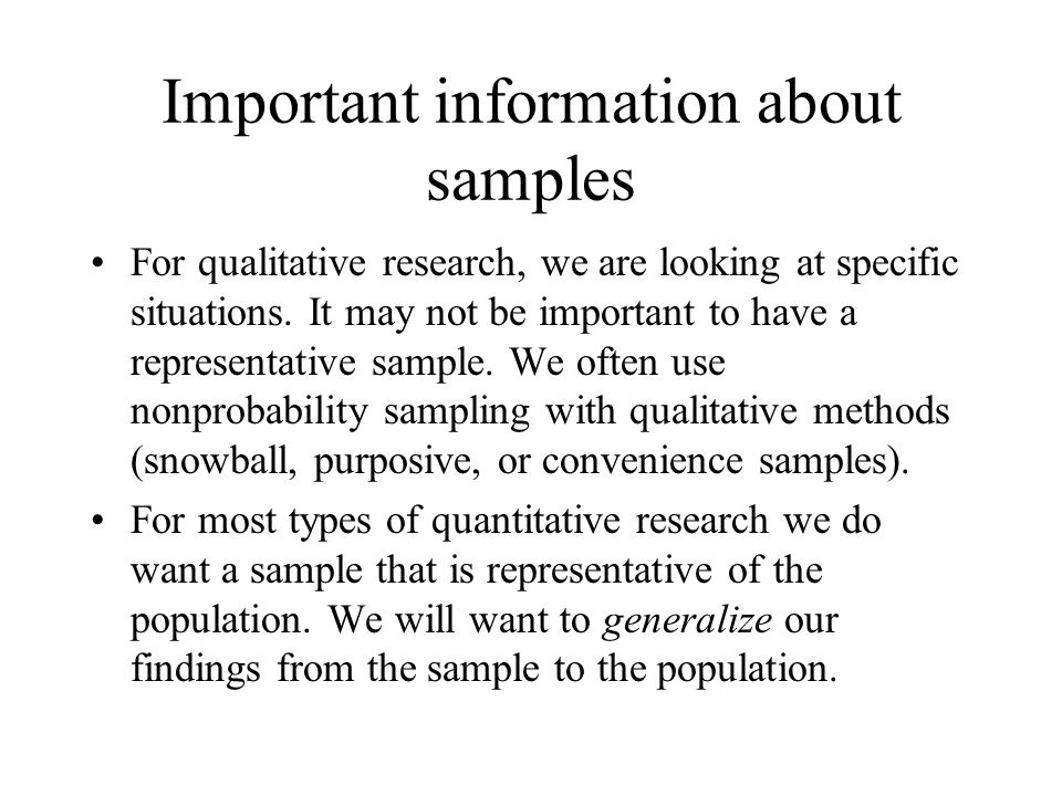 Important information about samples