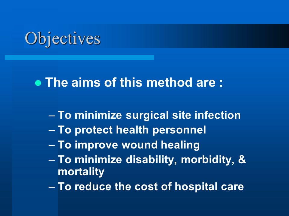 Objectives The aims of this method are :