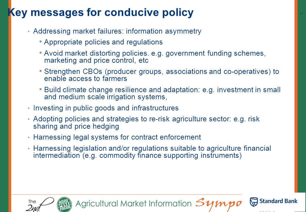 Key messages for conducive policy