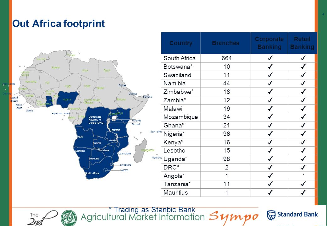 Out Africa footprint Notes * Trading as Stanbic Bank Country Branches