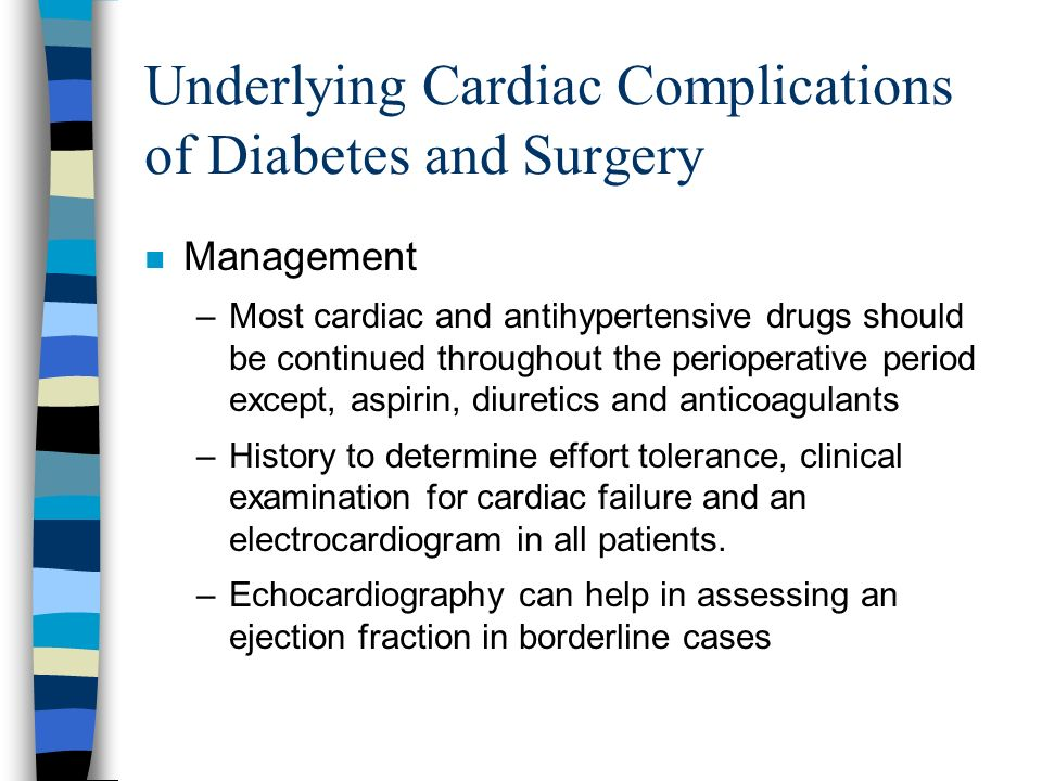 Underlying Cardiac Complications of Diabetes and Surgery