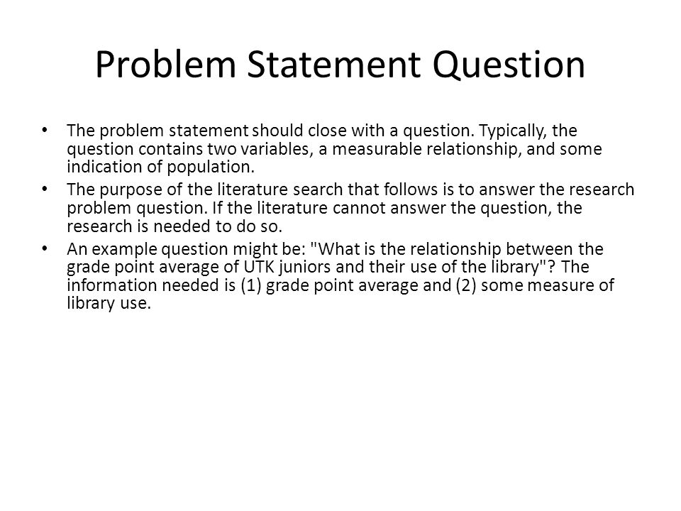 Problem Statement Question