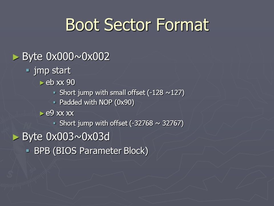 Boot Sector Format Byte 0x000~0x002 Byte 0x003~0x03d jmp start