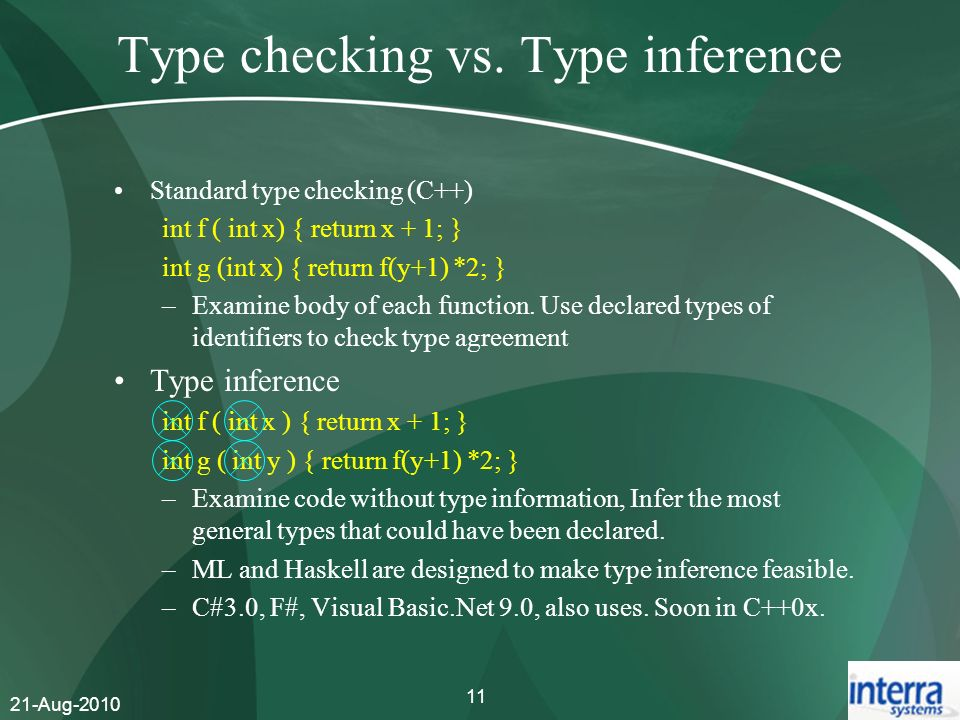 Type checking vs. Type inference