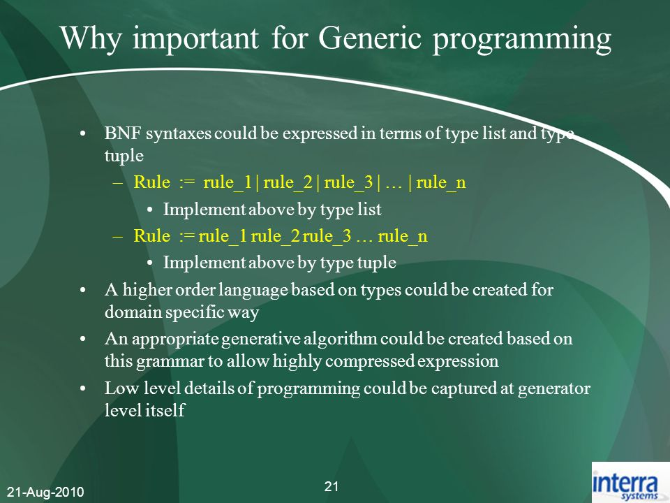 Why important for Generic programming
