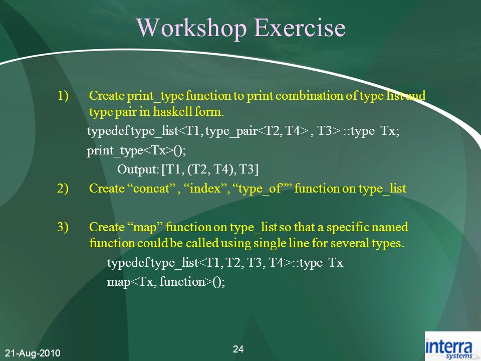Workshop Exercise Create print_type function to print combination of type list and type pair in haskell form.