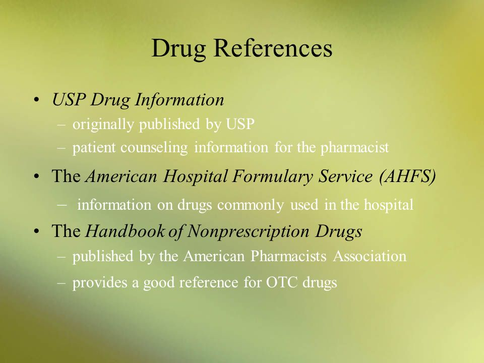 Drug References USP Drug Information
