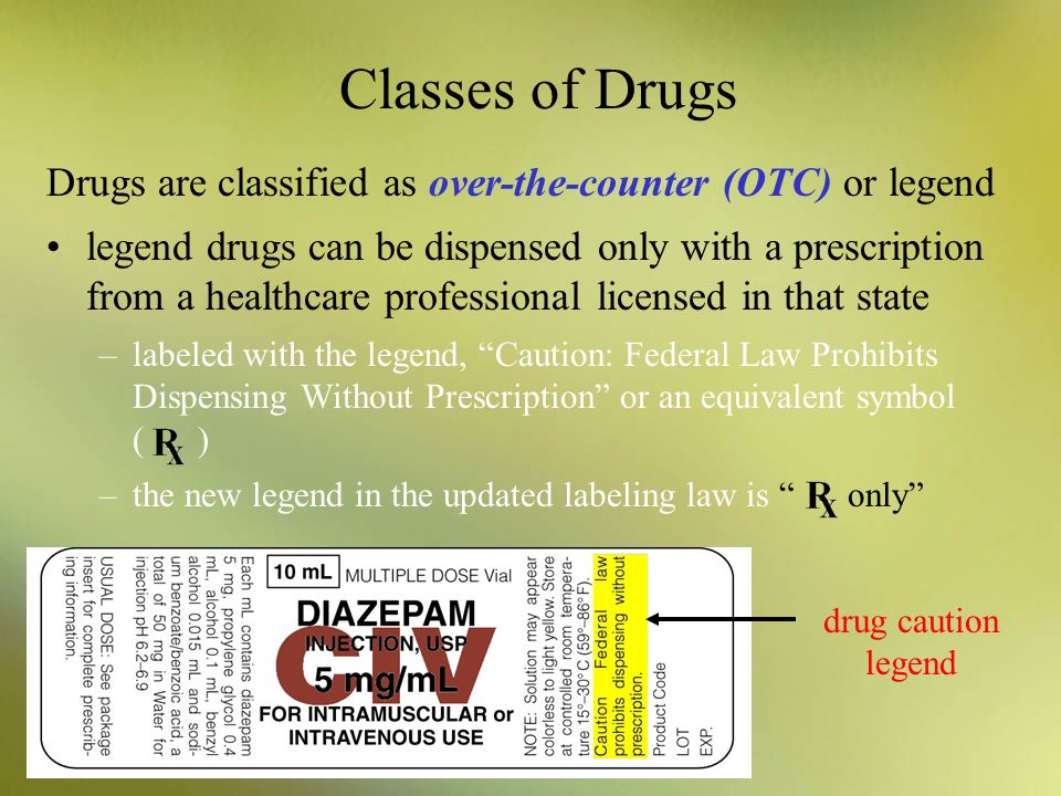 Classes of Drugs Drugs are classified as over-the-counter (OTC) or legend.