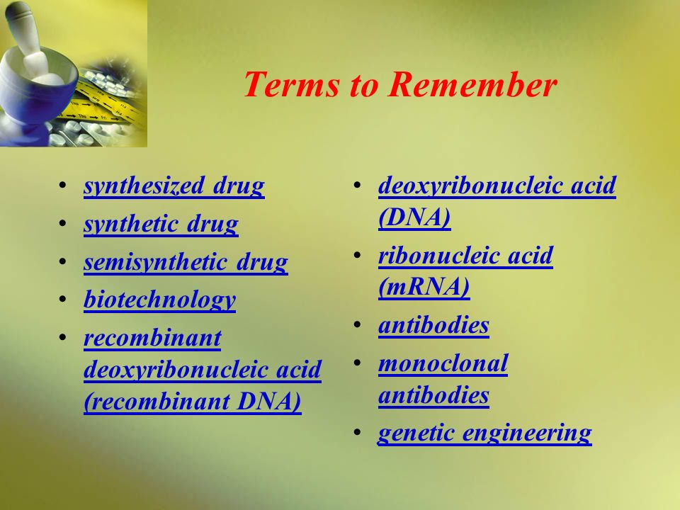 Terms to Remember synthesized drug synthetic drug semisynthetic drug