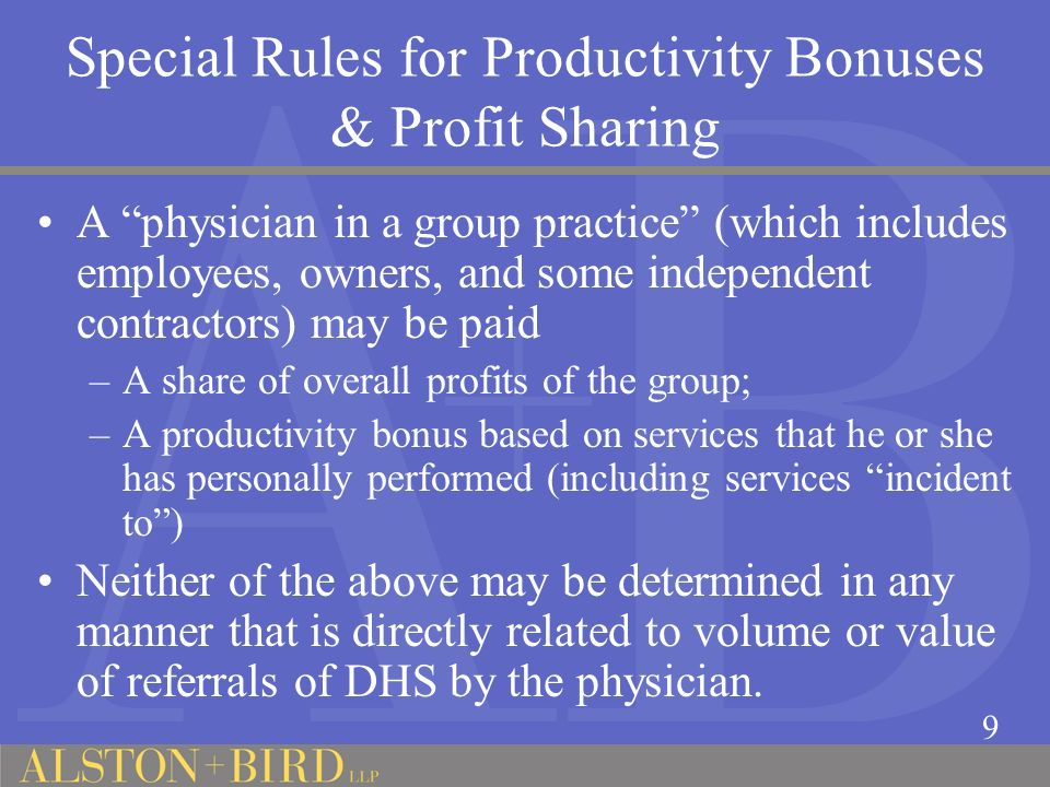 Special Rules for Productivity Bonuses & Profit Sharing