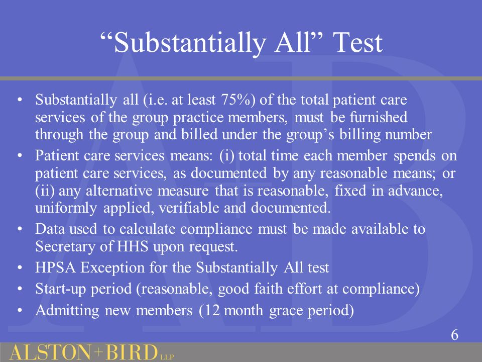 Substantially All Test