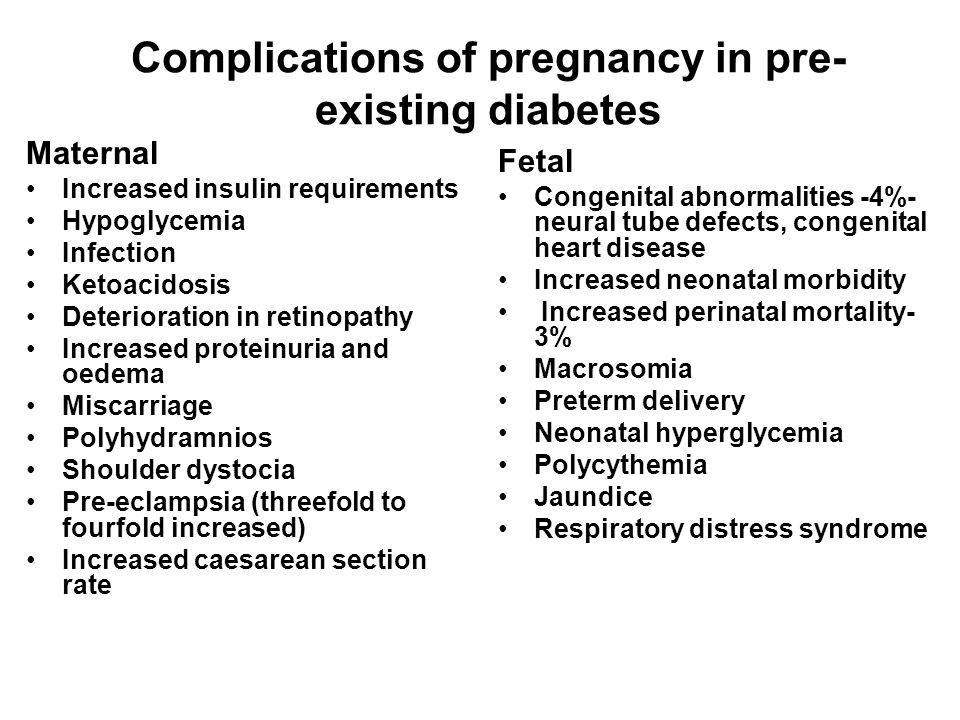 Complications of pregnancy in pre-existing diabetes