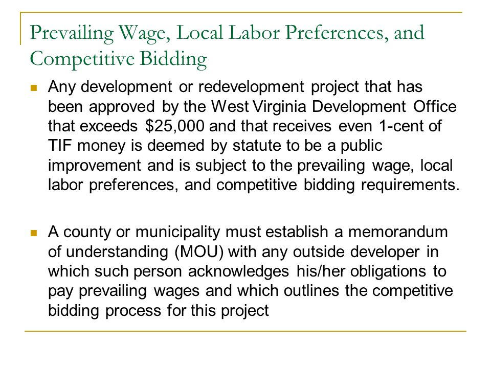 Prevailing Wage, Local Labor Preferences, and Competitive Bidding