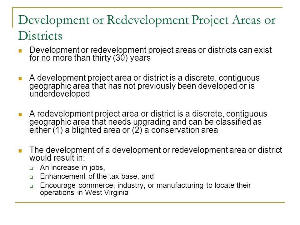 Development or Redevelopment Project Areas or Districts