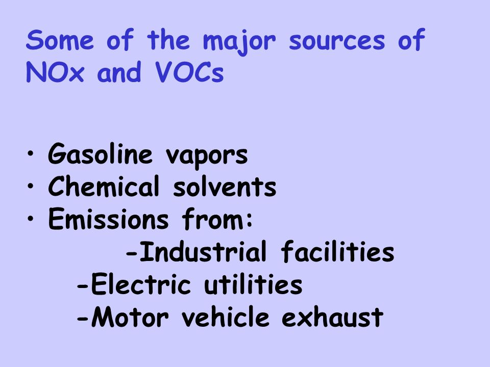 Some of the major sources of NOx and VOCs