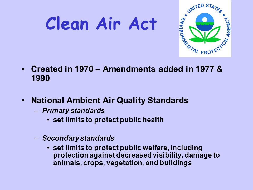 Clean Air Act Created in 1970 – Amendments added in 1977 & 1990