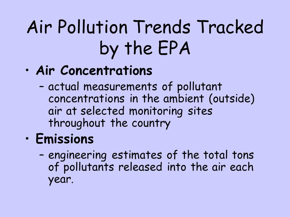 Air Pollution Trends Tracked by the EPA